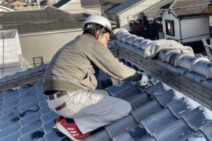 屋根漆喰塗り